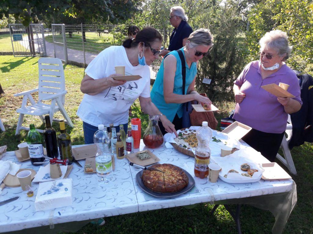 La tavola preparata dalle volontarie utilizzando le piante coltivate nell' Orto Botanico